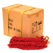 33 inch 07mm Round Metallic Red Mardi Gras Beads - 6 Dozen