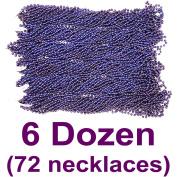 33 inch 07mm Round Metallic Navy Blue Mardi Gras Beads - 6 Dozen