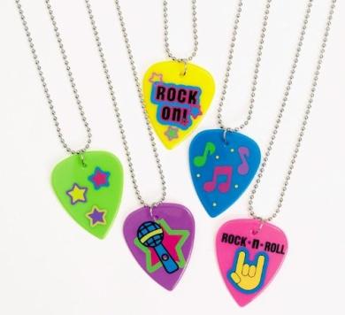 Plastic Guitar Pick Necklaces (1 dz)