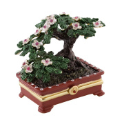 "Objet D'Art Release #36 ""Bonsai"" Japanese Miniature Pine Tree Handmade Jeweled Enameled Metal Trinket Box"