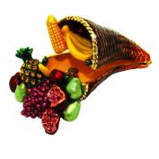 "Objet D'Art Release #365 ""Cornucopia"" Thanksgiving Horn of Plenty Handmade Jeweled Enameled Metal Trinket Box"