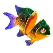 "Objet D'Art Release #333 ""Pacific Jewel Damselfish"" Tropical Fish Handmade Jeweled Enameled Metal Trinket Box"