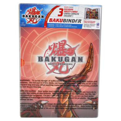 """Cartoon Network TV Series """"Bakugan Battle Brawler"""" Cards Holder - Pyrus Red BAKUBINDER with 4 Ability Cards (3 Exclusive) and 4 Metal Gate Cards (Binder Holds up to 96 Cards)"""