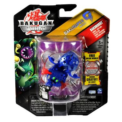 Spin Master Year 2010 Bakugan Gundalian Invaders Bakusuper G Series Bakuboost Single Figure - Mega Powerful Aquos Blue NASTIX (1220G) with 1 Ability Card and 1 Metal Gate Card
