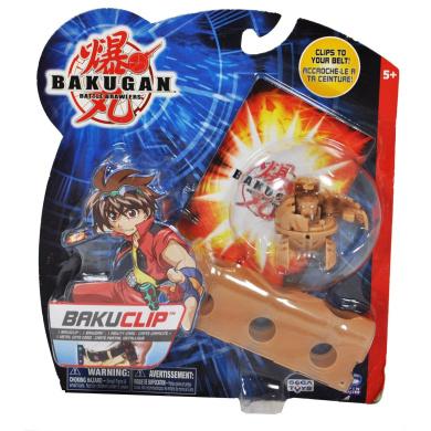 "Cartoon Network TV Series ""Bakugan Battle Brawler"" Bakuclip Series Single Pack Set with Subterra Brown Blade Tigrerra, 1 Metal Gate Card, 1 Ability Card and 1 Brown Bakuclip"