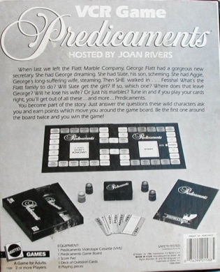 Joan Rivers Predicaments VCR Game - Soap Opera Spoof Game from 1986