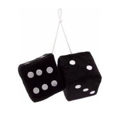 Vintage Parts 14553 7.6cm Black Fuzzy Dice with White Dots - Pair