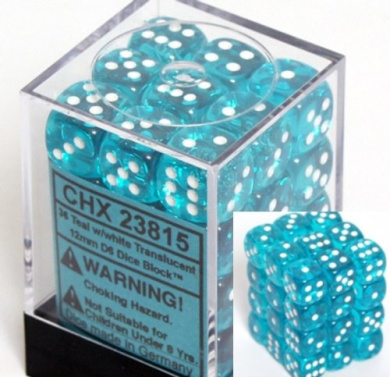 Teal with White Spots Translucent 12mm 6 Sided Dice 36