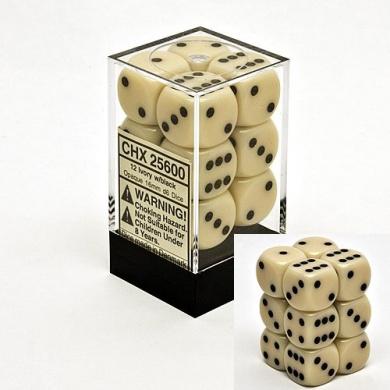 Ivory 16mm D6 Opaque Dice Block of 12