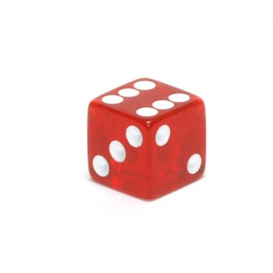 16mm d6 Red Translucent Square Edge Dice with Pips