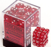 Red with White Spots Translucent 12mm 6 Sided Dice 36