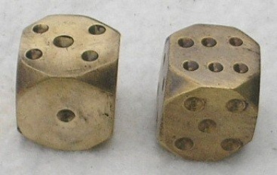 Solid Polished Brass Pair Dice