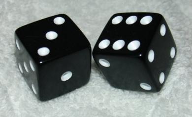 Large 1.9cm Black Opaque Dice Pair