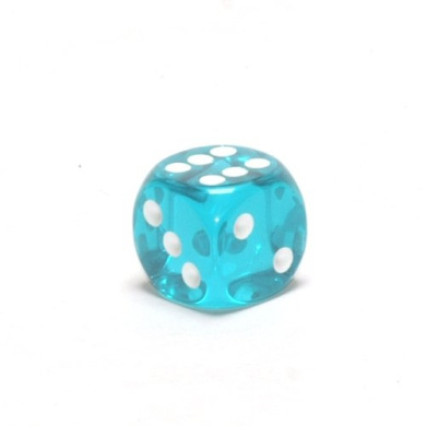Translucent 16mm d6 Teal/white Pipped Dice