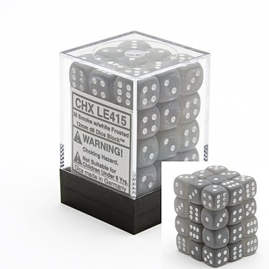 Chessex Frosted 12mm d6 Smoke w/White Dice Block 36 Dice
