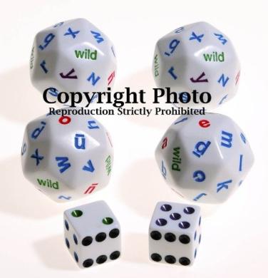 30-Sided ALPHABET Dice _ Bundle of 4 _ with 2 bonus white dice