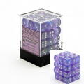 Chessex Borealis 12mm d6 Purple w/White Dice Block 36 Dice