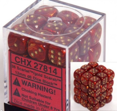 Chessex Scarab 12mm d6 Scarlet w/Gold Dice Block 36 Dice