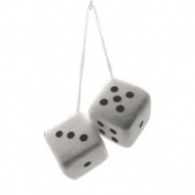 7.6cm Fuzzy Dice White with Black Dots