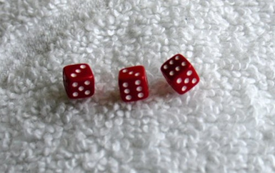 Three Mini Minis Red Opaque Dice