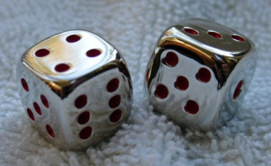 Two 1.6cm Square - Solid Metal - Highly Polished Dice Pair