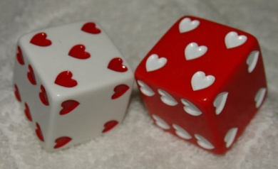 2.5cm Huge White And Red Hearts Opaque Dice Pair