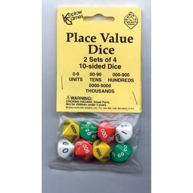Koplow Games Dice - 10 Sided Place Value - 2 sets of 4