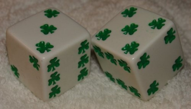 Huge White With Green Shamrocks Opaque Dice Pair