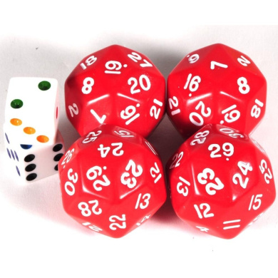 30-Sided RED Dice _Bundle of 4 with 2 bonus white dice
