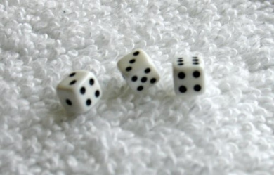 Three Mini Minis White Opaque Dice