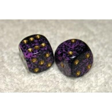 Mini Purple Speckled Dice Pair