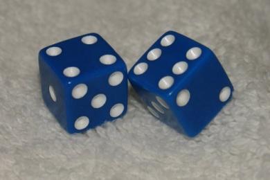 Mini Blue Opaque Dice Pair