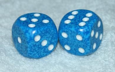 Light Blue Speckled Dice Pair