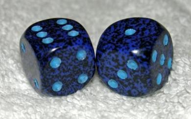 Dark Blue Speckled Dice Pair