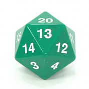 Koplow 55mm Jumbo d20 Opaque Countdown Dice, Green with White