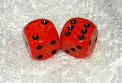 Mini Orange Speckled Dice Pair