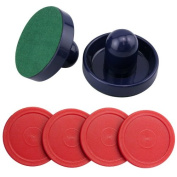 Set of Two Blue Air Hockey Pushers and Four Red Air Hockey Pucks