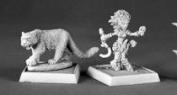 Lini Iconic Gnome Druid and Droogami Snow Leopard Pathfinder Miniature REM60020 REAPER MINATURES
