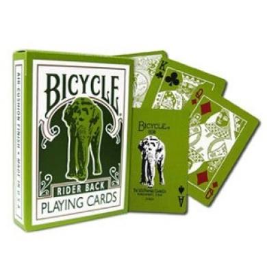 Green Bicycle Elephant Tsunami Playing Cards Rider Back Poker Size Regular Index