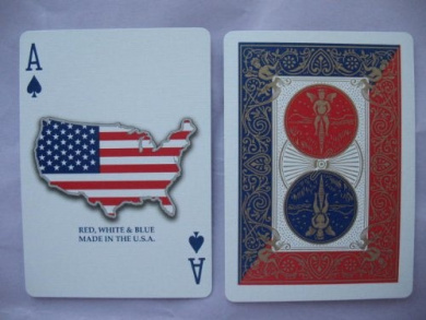 Bicycle Red, White and Blue Series 1 Map USA Design Playing Cards