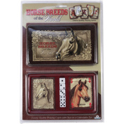 Rivers Edge Products 2-Pack Playing Cards and Dice Gift Tin, Horse Breeds of the World