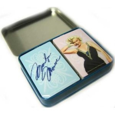 Marilyn Monroe Playing Cards In Tin Pink & Blue Close Up