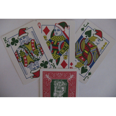 Bicycle 225 Red Deck Green Santa Maiden Back Playing Cards