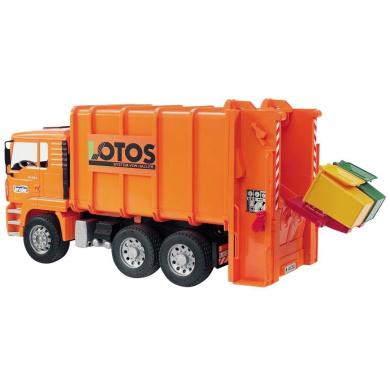 Bruder 02762 MAN TGA Rear Loading Garbage Truck (Orange) 1:16th Scale