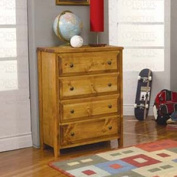 Classic Cottage Natural Wood 4 Drawer Chest by Coaster Furniture
