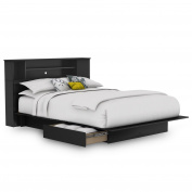 Vito Full/Queen Platform Bed & Bookcase Headboard in Pure Black