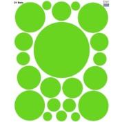 Polka DotCircle Dots Wall Decals (21) Peel & Stick Vinyl Lime Green Wall Dots