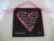 Hot Pink Heart On Black Wall Art Sign