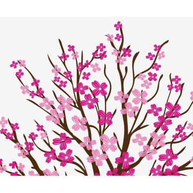 Large Wall Tree Nursery Decal Dogwood Magnolia Cherry Blossom Flowers #1116 (2.1m Tall)
