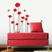 Easy Instant Decoration Wall Sticker Decal - Red Flowers and Butterflies